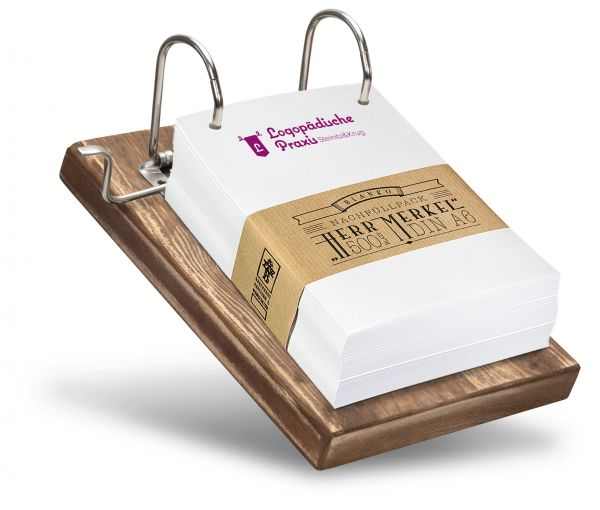 Mit Ihrem Logo wird der Zettelhalter zu einem individuellen Produkt.